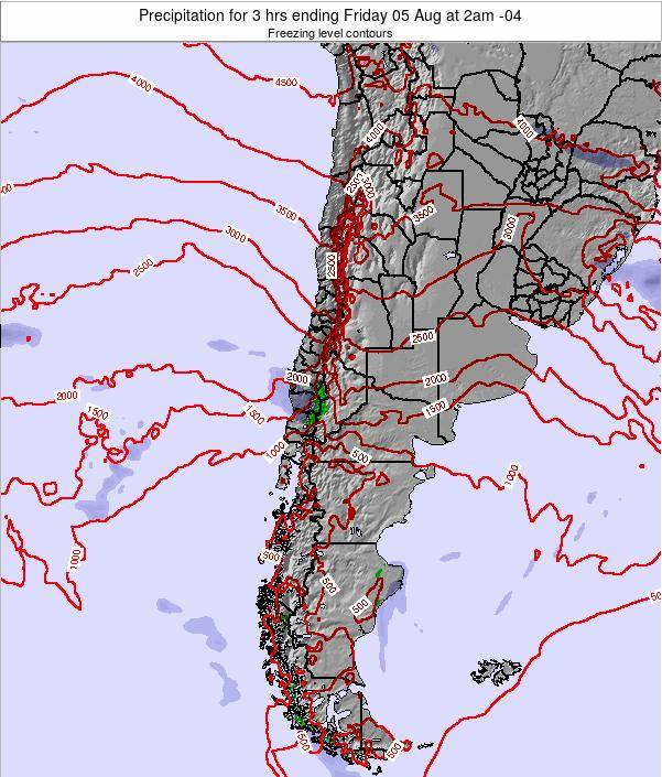 Chile Precipitation for 3 hrs ending Tuesday 16 Oct at 3pm CLT map
