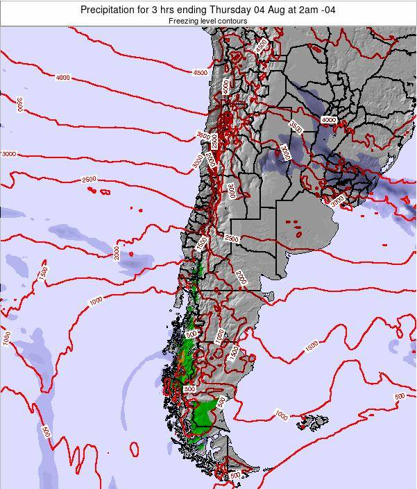 Chile Precipitation for 3 hrs ending Thursday 27 Sep at 3pm CLT map