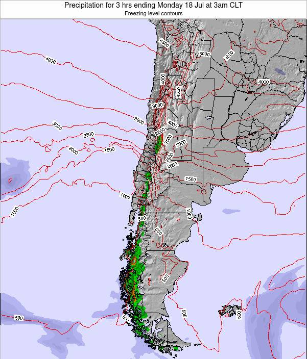 Chile Precipitation for 3 hrs ending Thursday 19 Jul at 3am CLT map
