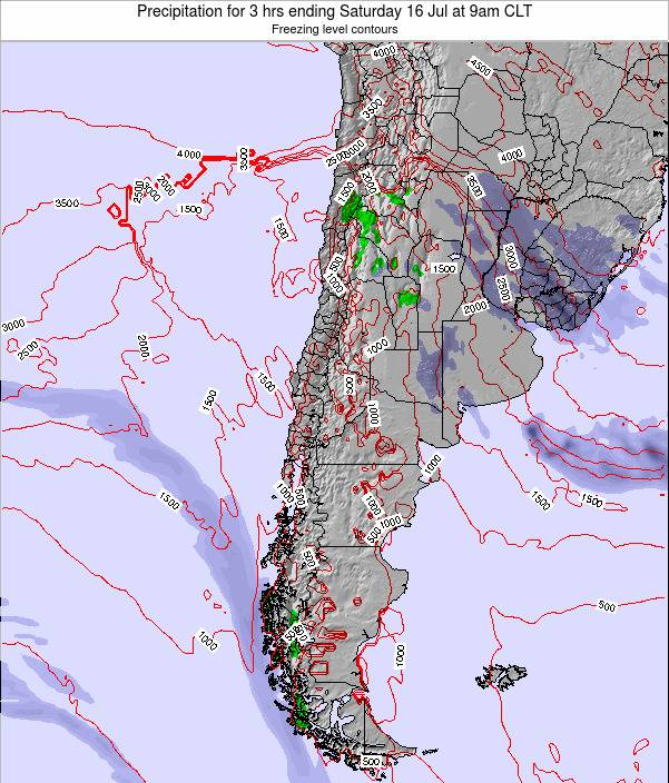 Chile Precipitation for 3 hrs ending Friday 25 Jan at 3pm CLT map