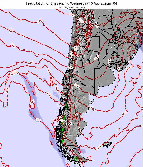 Chile Precipitation for 3 hrs ending Friday 25 May at 9pm CLT map