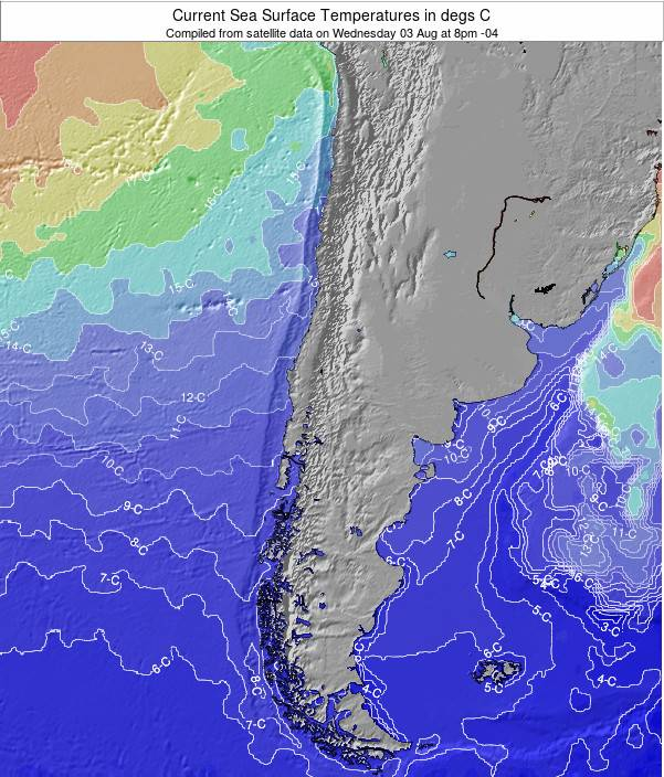 Chile Sea Temperature Map