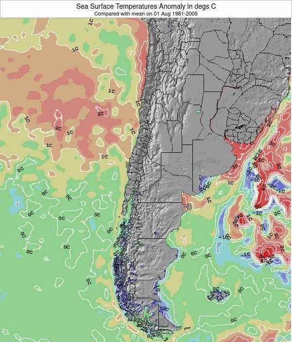 Chile Anomalia na Temperatura da Superfície do Oceano Mapa