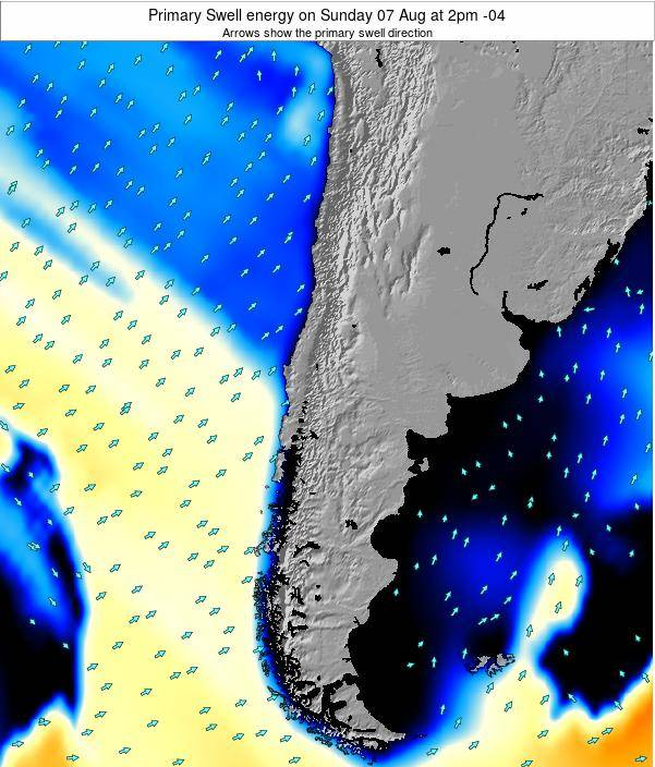 Chile Primary Swell energy on Tuesday 24 Jan at 9pm CLST
