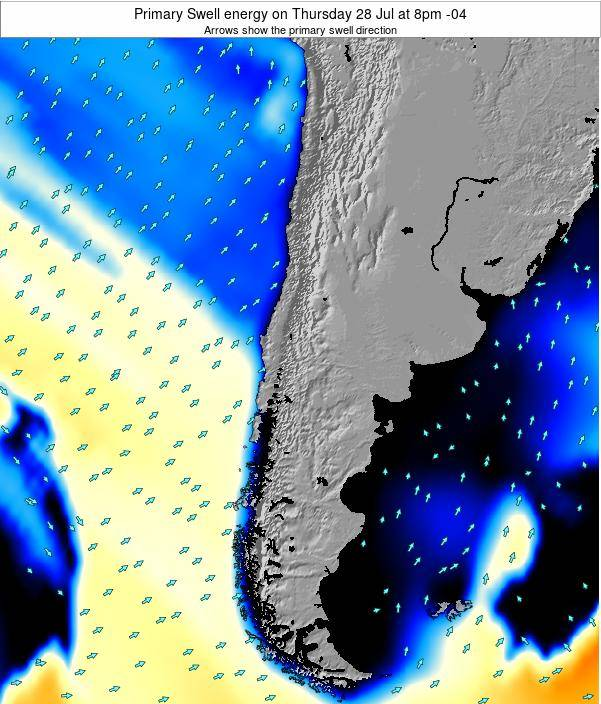 Chile Primary Swell energy on Wednesday 14 Oct at 3am CLT