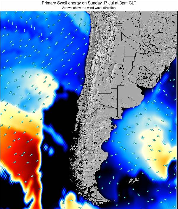 Chile Primary Swell energy on Monday 09 Dec at 3pm CLST