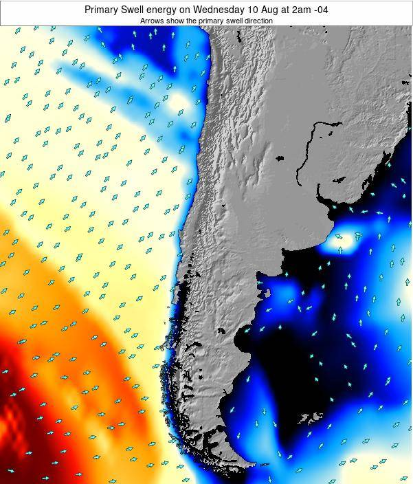 Chile Primary Swell energy on Thursday 13 Mar at 9am CLST
