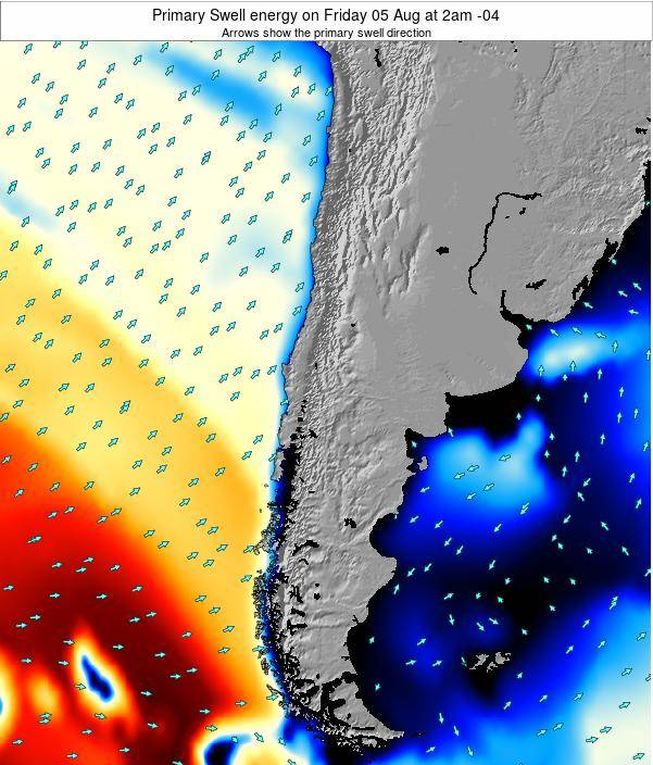 Chile Primary Swell energy on Wednesday 08 Oct at 3pm CLST