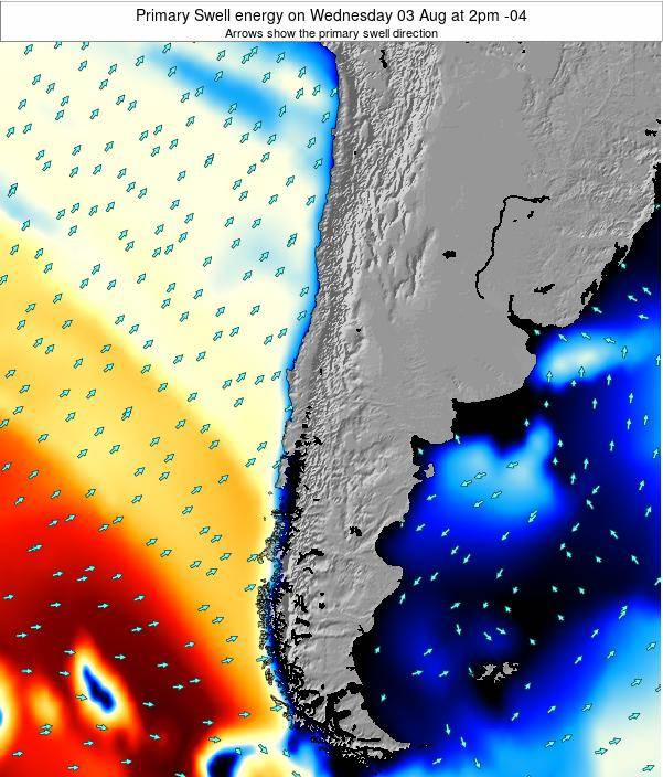 Chile Primary Swell energy on Saturday 10 Dec at 9am CLST