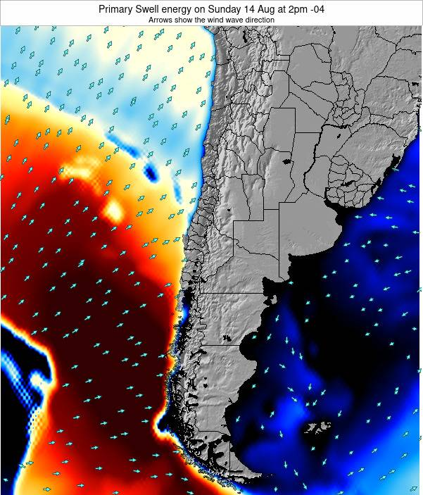 Chile Primary Swell energy on Saturday 28 Apr at 9pm CLT map