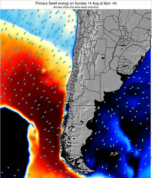 Chile Primary Swell energy on Thursday 31 Jul at 8am CLT