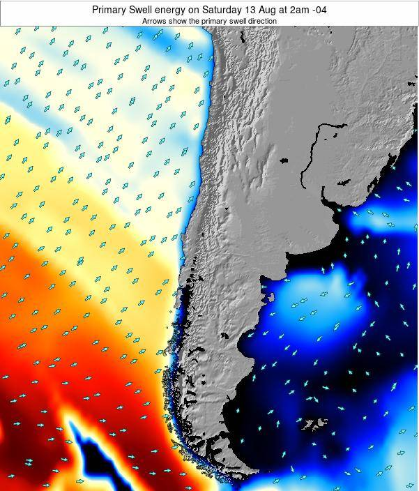 Chile Primary Swell energy on Sunday 16 Mar at 9pm CLST