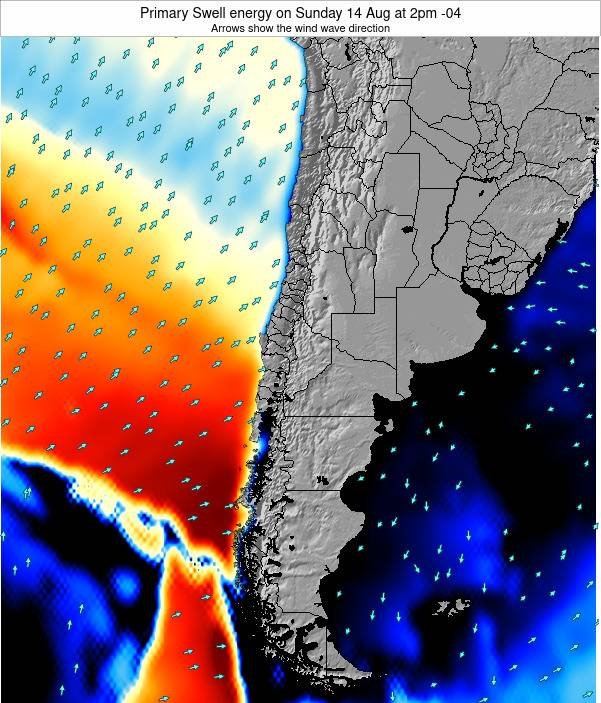 Chile Primary Swell energy on Monday 27 Oct at 9pm CLST