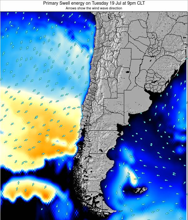 Chile Primary Swell energy on Thursday 18 Feb at 3am CLT