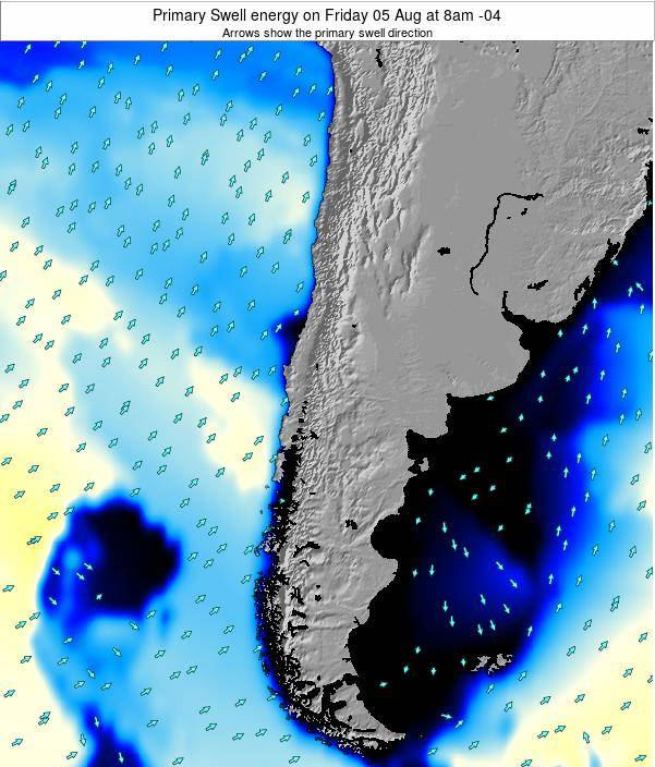 Chile Primary Swell energy on Saturday 25 May at 8am CLT