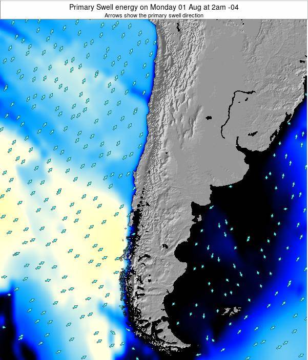 Chile Primary Swell energy on Friday 19 Jan at 9pm CLT map