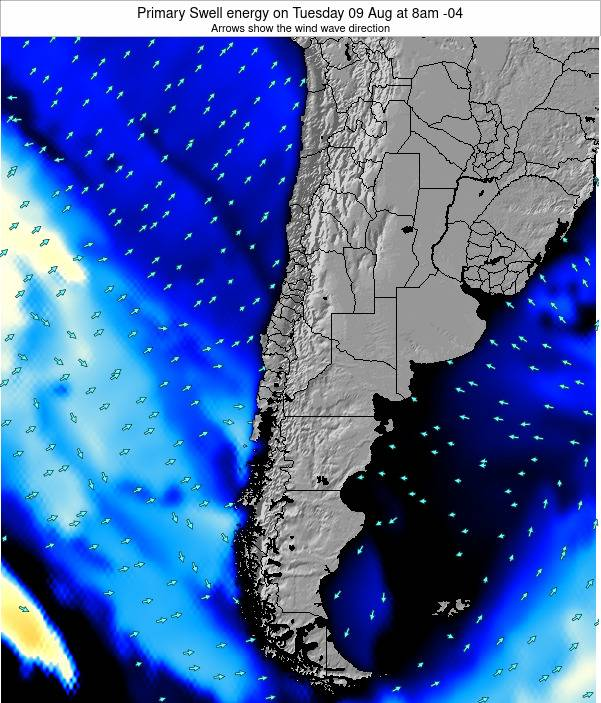 Chile Primary Swell energy on Monday 10 Mar at 3pm CLST
