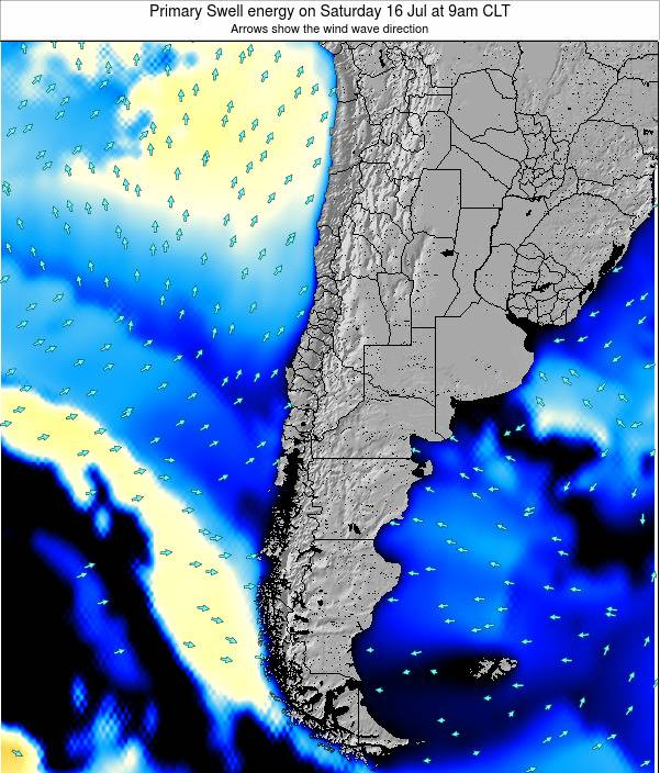 Chile Primary Swell energy on Saturday 14 Dec at 9am CLST