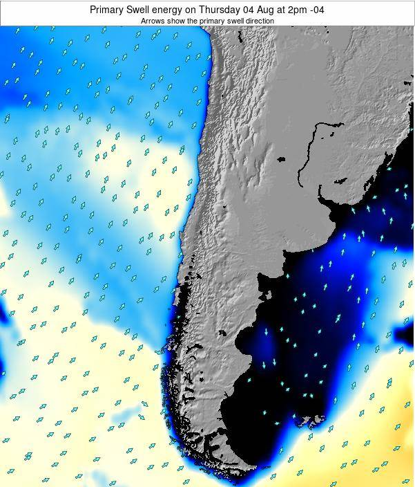 Chile Primary Swell energy on Wednesday 19 Jun at 8pm CLT