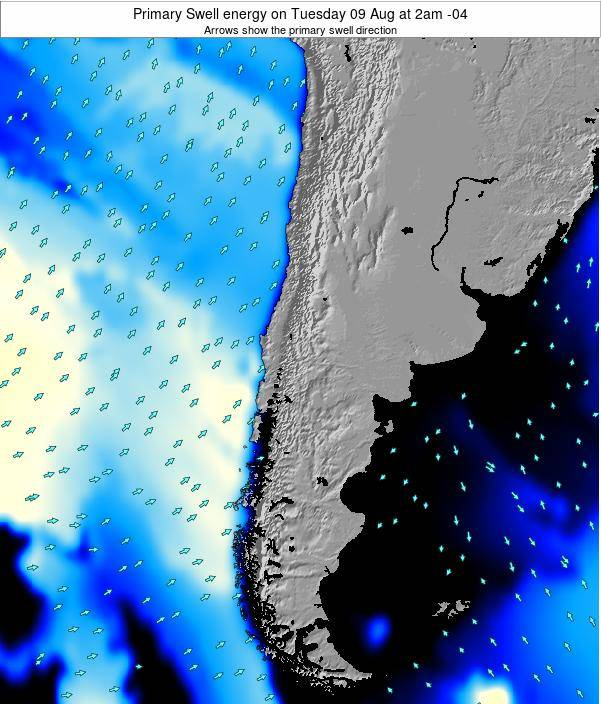Chile Primary Swell energy on Sunday 20 Apr at 9pm CLST