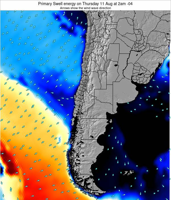 Chile Primary Swell energy on Sunday 09 Mar at 9am CLST