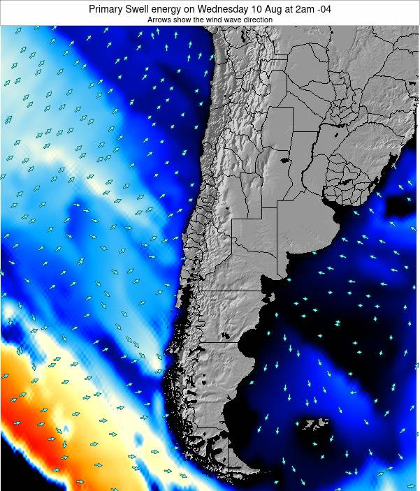 Chile Primary Swell energy on Monday 03 Oct at 3am CLT