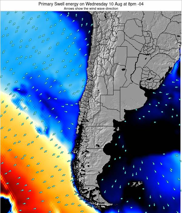 Chile Primary Swell energy on Thursday 26 Apr at 9pm CLT map
