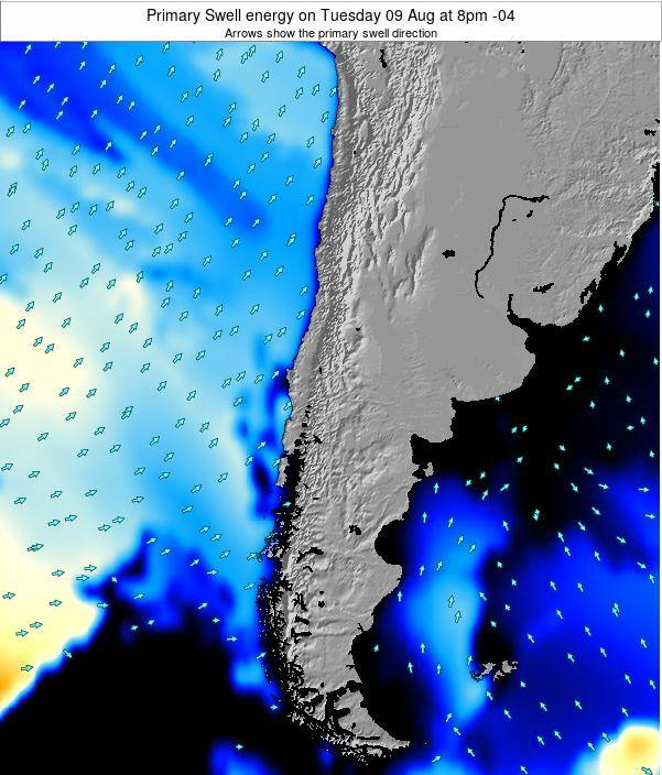 Chile Primary Swell energy on Sunday 08 Dec at 3am CLST