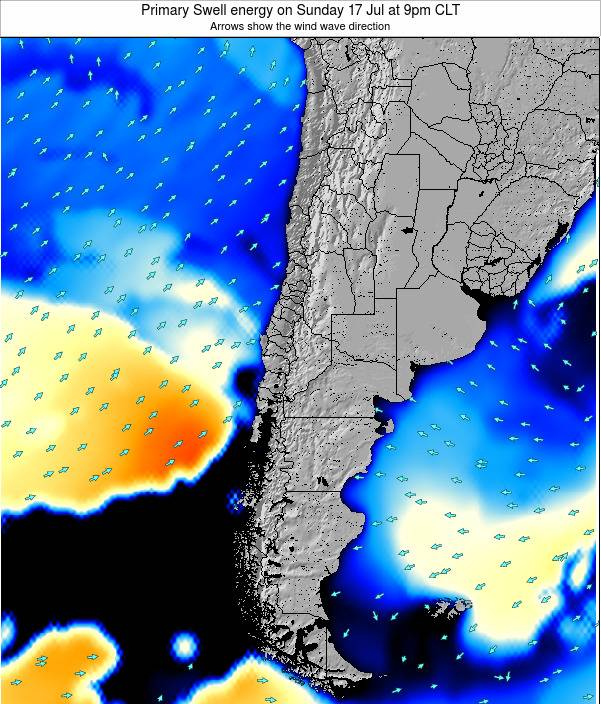 Chile Primary Swell energy on Saturday 22 Jun at 8pm CLT