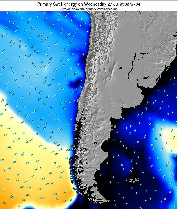 Chile Primary Swell energy on Sunday 08 Mar at 3am CLST