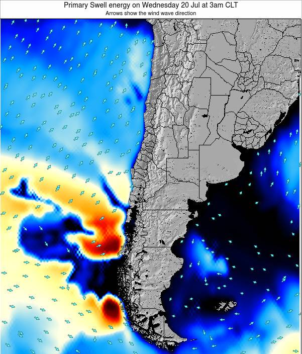 Chile Primary Swell energy on Saturday 25 May at 2am CLT