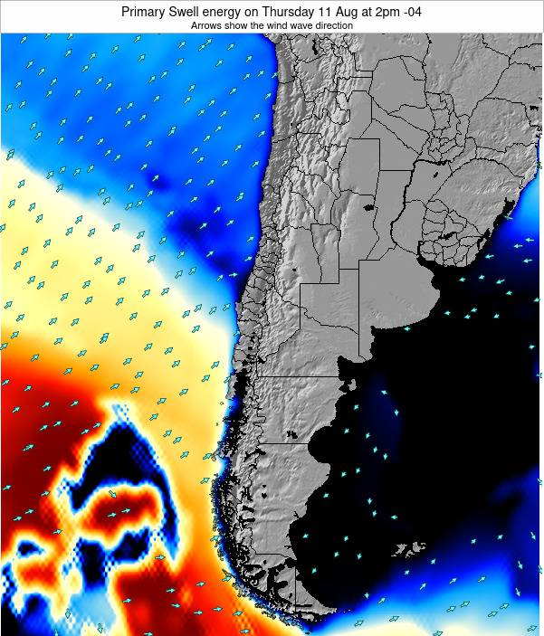 Chile Primary Swell energy on Saturday 15 Mar at 9pm CLST