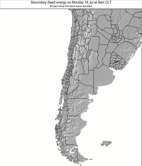 Chile Secondary Swell energy on Wednesday 10 Feb at 9pm CLT