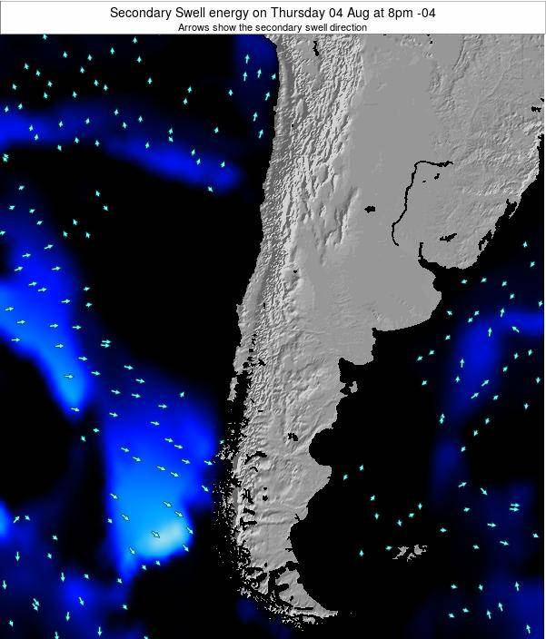 Chile Secondary Swell energy on Wednesday 23 Jul at 8pm CLT