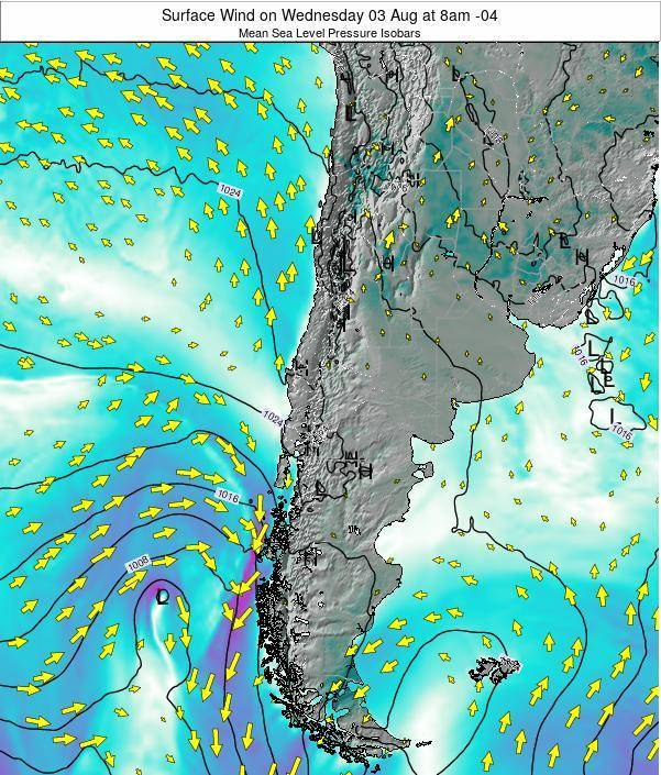 Chile Surface Wind on Monday 27 May at 2pm CLT