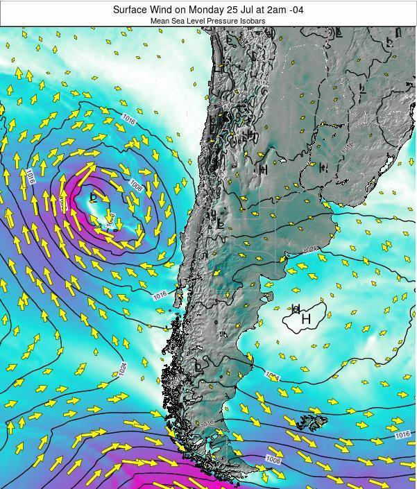 Chile Surface Wind on Wednesday 22 May at 2am CLT
