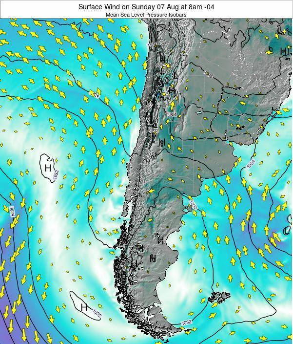 Chile Surface Wind on Tuesday 28 May at 2am CLT