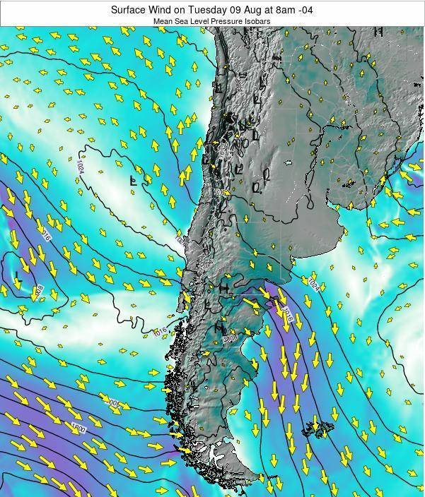 Chile Surface Wind on Saturday 25 May at 8pm CLT