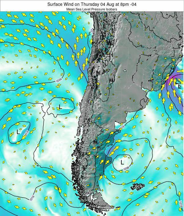 Chile Surface Wind on Sunday 26 May at 2am CLT