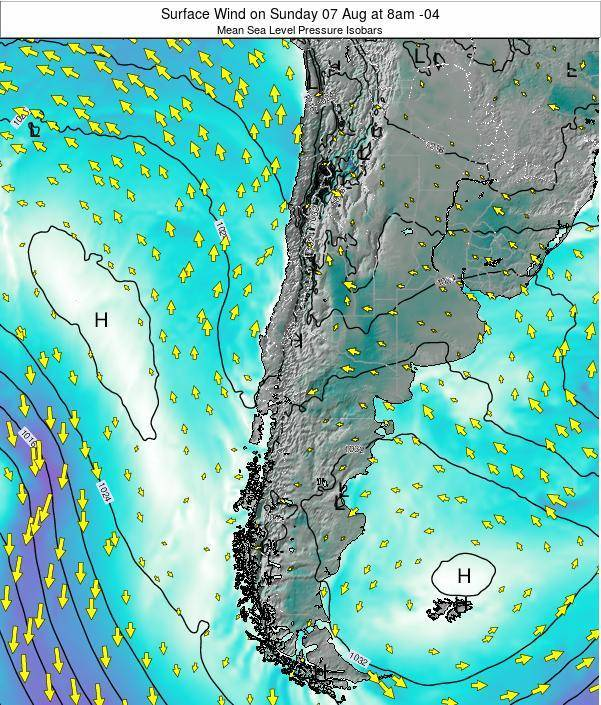 Chile Surface Wind on Sunday 26 May at 2pm CLT