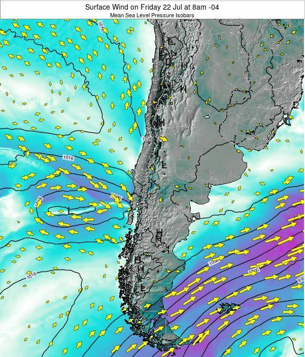Chile Surface Wind on Thursday 23 May at 8am CLT