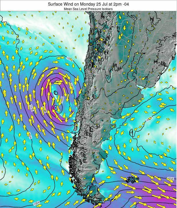 Chile Surface Wind on Friday 24 May at 2am CLT