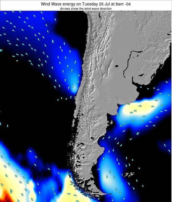 Chile Wind Wave energy on Wednesday 29 Nov at 3am CLT map