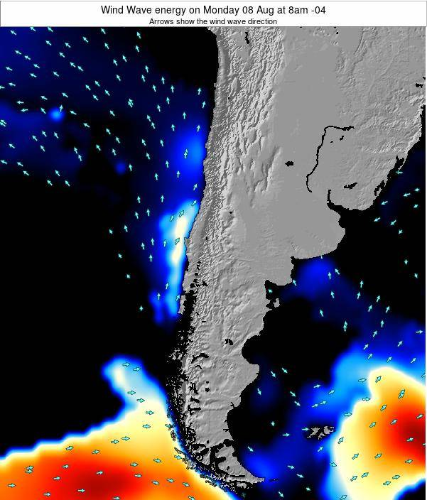 Chile Wind Wave energy on Sunday 27 Jul at 2pm CLT