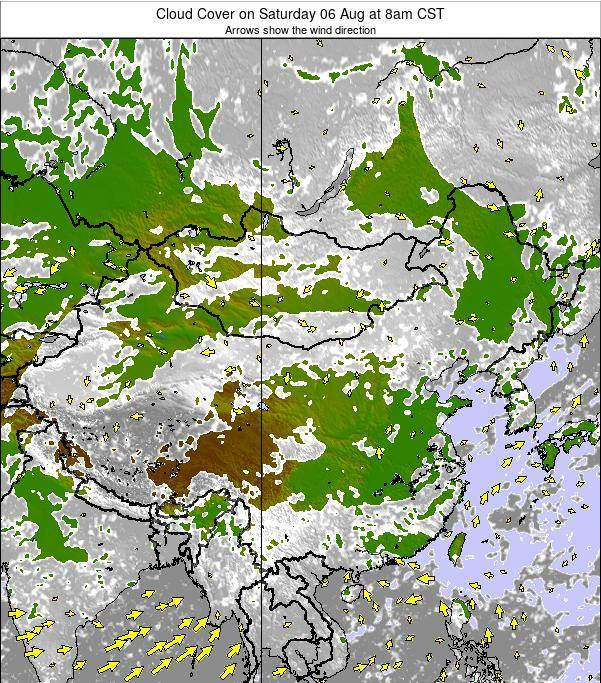 China Cloud Cover on Sunday 24 Jun at 8am CST map