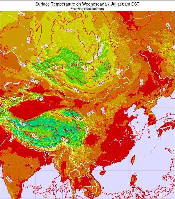 China Surface Temperature on Saturday 25 May at 2pm CST map