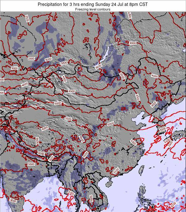 China Precipitation for 3 hrs ending Wednesday 19 Dec at 2am CST map