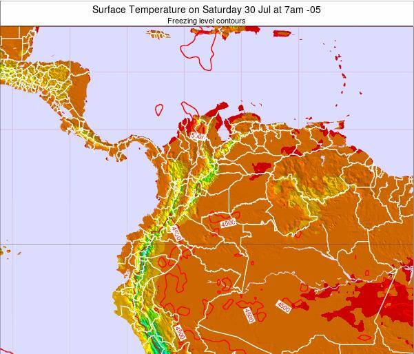Colombia Surface Temperature on Wednesday 19 Jun at 7pm COT