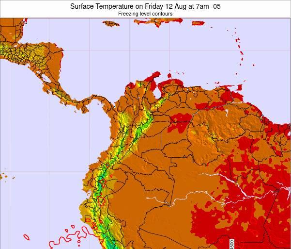 Colombia Surface Temperature on Thursday 30 May at 1am COT