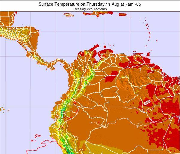Colombia Surface Temperature on Tuesday 25 Jun at 7pm COT